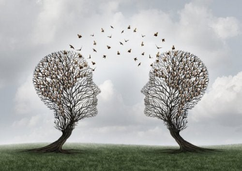 Two trees in the form of human heads communicating.