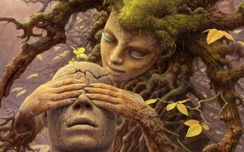 A female tree covering the eyes of a bald person.