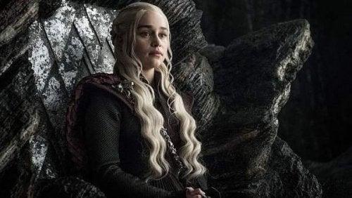 Daenerys Targaryen sitting down.
