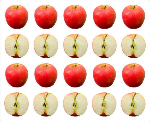 A picture showing four rows of apples, the first and third whole, the second and fourth cut in half, as a symbol of the measures of dispersion.