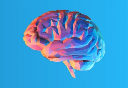 A colorful brain in a blue background.