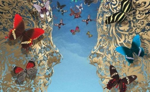 faces with butterflies inside of them