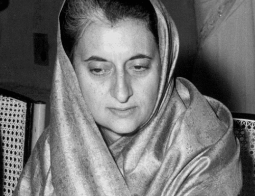 indira gandhi looking down