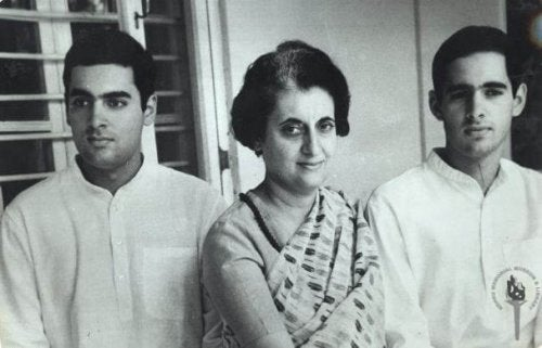 Indira Gandhi with two men