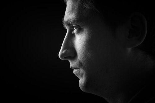 a man's profile that shows schizophrenia's positive and negative symptoms