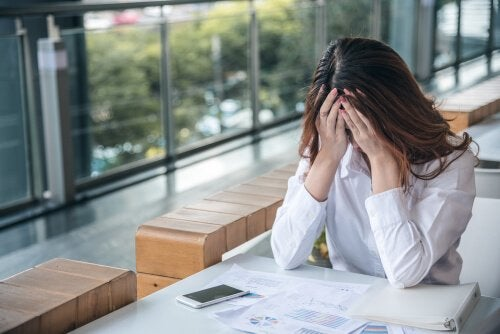 A woman worried about her work anxiety.