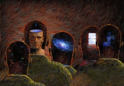 A painting of the back of men's heads.