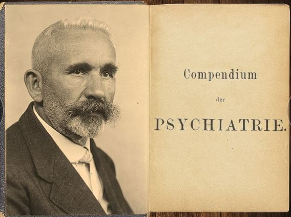 the first page of the original German edition of the Compendium of Psychiatry, with a photo of Emil Kraepelin on the left-hand page