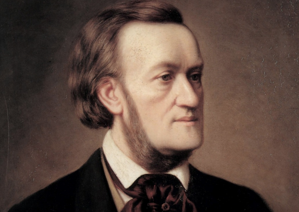 A painting showing Richard Wagner from the chest up, looking to the right of the camera.