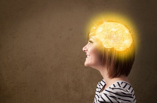 A woman with the happiness zone of her brain lit up.