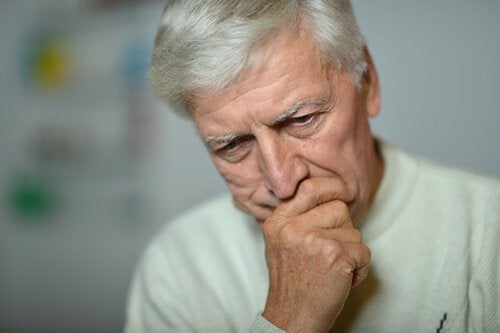 A worried older man.