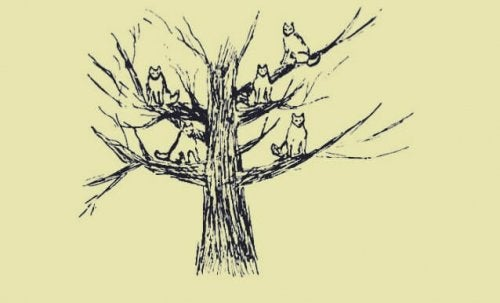 A drawing of wolves in a tree.