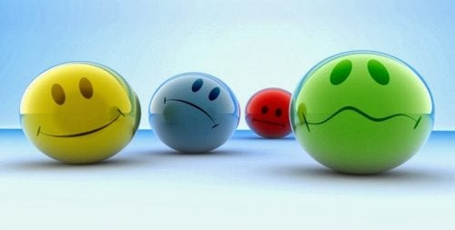 Balls representing different emotions.