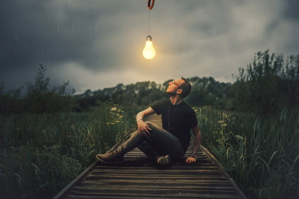 A man sitting in the middle of a wooden plank walkway over a field of bushes, with a lightbulb hanging over his head.