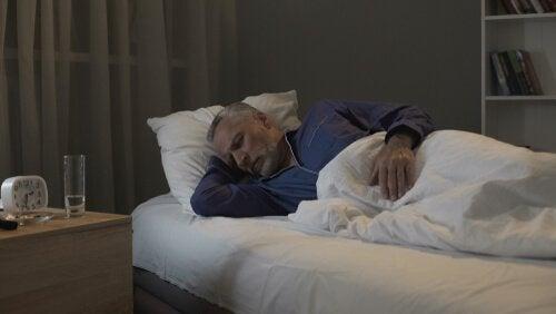 An old man sleeping.