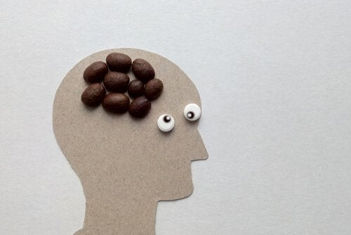 person with coffee beans as a brain