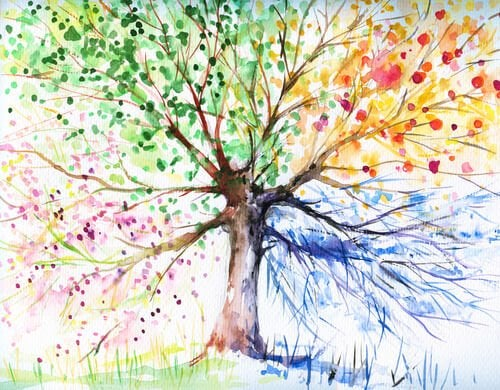 a drawing of a tree with colorful leaves to use as part of expressive therapies
