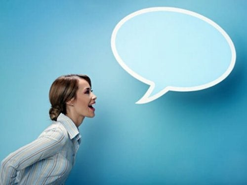 A woman with an oversized speech bubble.