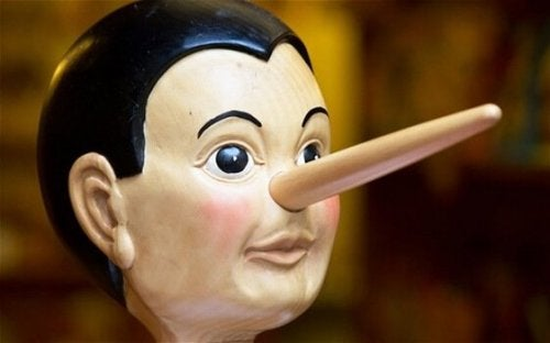 A wooden Pinocchio head.