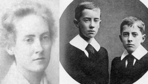 Author J.R.R. Tolkien with his mother and brother.
