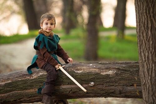 A boy dressed as Robin Hood.