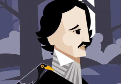 A cartoon image of Edgar Allan Poe.