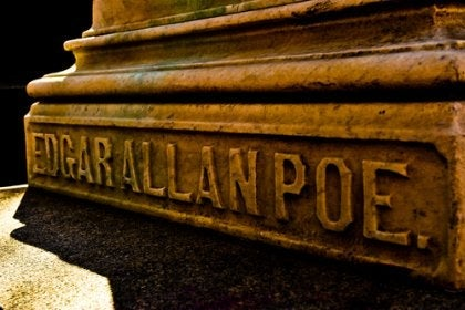 Edgar Allan Poe's name carved in stone.