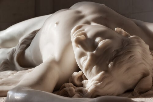 A marble sculpture.