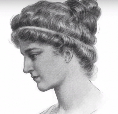 A black and white drawing of Hypatia of Alexandria.