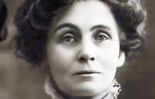 A close-up of Emmeline Pankhurst.