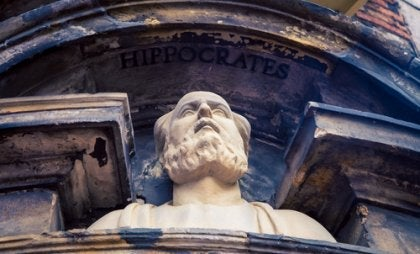 A bust of Hippocrates.