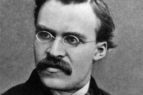 A black and white photo of Nietzsche.