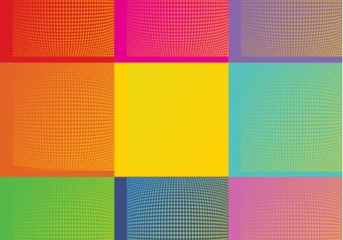 An image of Andy Warhol's art showing several squares of different colors, creating a series of optical illusions.