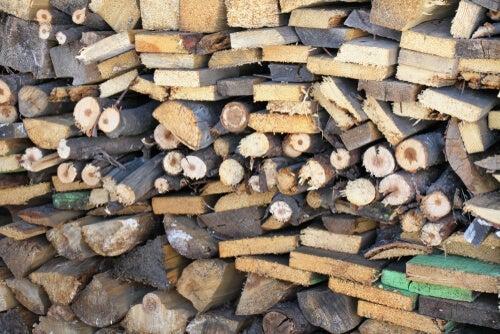 Piles of wood.
