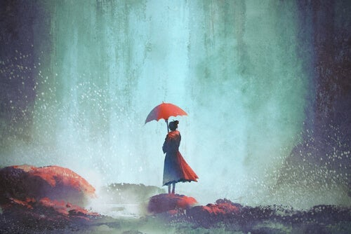 A painting of a lonely woman in a storm.