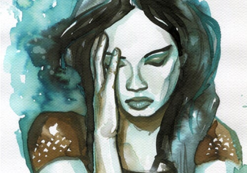 A watercolor of a concerned woman.