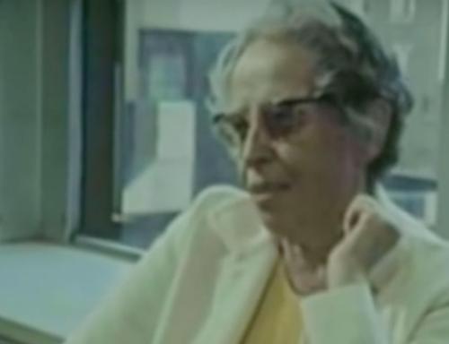 Hannah Arendt giving an interview.