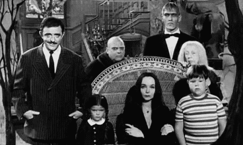 The Addams family in black and white.