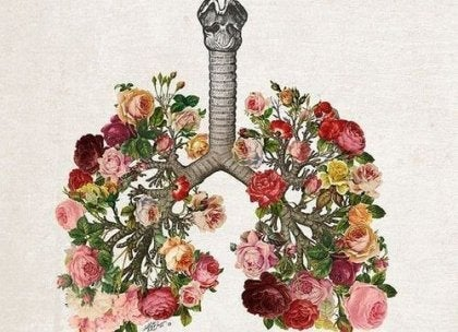 An image of lungs drawn with flowers.