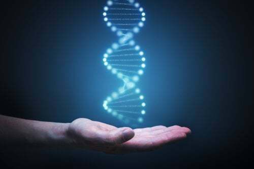A hand with a hologram of a DNA strand hovering over it.