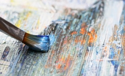 A paintbrush on canvas.