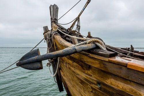 An image of an old ship sailing at sea