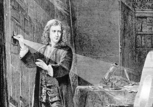 An illustration of Isaac Newton experimenting with light.
