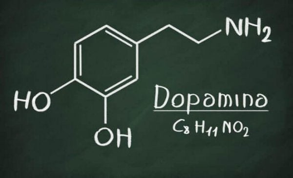 The chemical structure for dopamine shown in chalk on a blackboard.