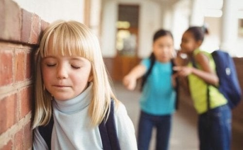 A girl at school being bullied.