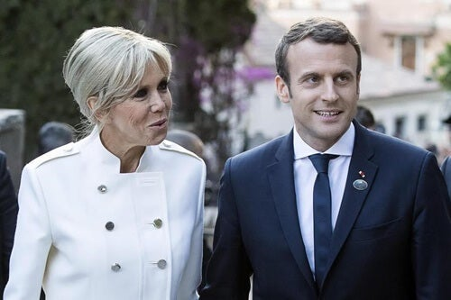 Macron and his wife.