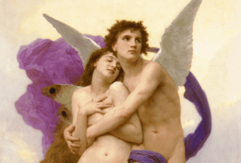 A painting of Eros and Psyche.