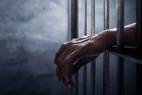 A man with his hands between bars.