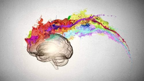 A brain exploding with colors.