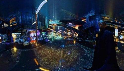 A futuristic cityscape.